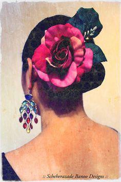 Single Rose Hair flower for flamenco ATS Tribal fusion belly dance or burlesque by ScheherazadeBanoo, $10.00