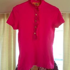 Tory burch pink polo XS good condition Tory burch size XS polo in good condition light fading has bin worn a few times and washed with care all the buttons have the TB logo and are attached beautiful summer color! Pet free smoke free home!! Make me an offer Tory Burch Tops