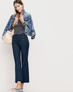J.Crew women's denim jacket in Tyler wash, 10 percent long-sleeve T-shirt in stripe, Teddie sailor pant, crystal and pearl studded cuff bracelet, Timex® for J.Crew Andros watch,  tassel-tie bucket bag in smooth leather and Gemma flats in stripe.