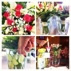 wedding tip from our planner - add a fresh look to your centerpieces by adding fresh lime slices to your vases