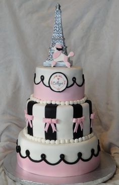 @Mindy Burton Roy I saw that you were looking at some Paris themed stuff and this cake showed up and I thought it was cute!