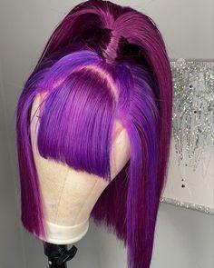 "JAX STYLIST's Instagram post: """"Play nice""Unit 😈 Step outside ur box with this two toned purple custom wig 💜💜 Now for sale! #customwigs #purplehair #purplewig…"""