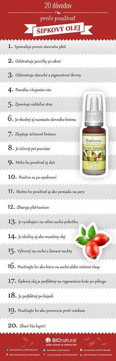 20 dôvodov prečo používať šípkový olej Natural Solutions, Food And Drink, Health Fitness, Cosmetics, Drinks, Bottle, How To Make, Beauty, Hair