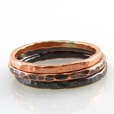 Fade 2 Black Copper Stacking Rings