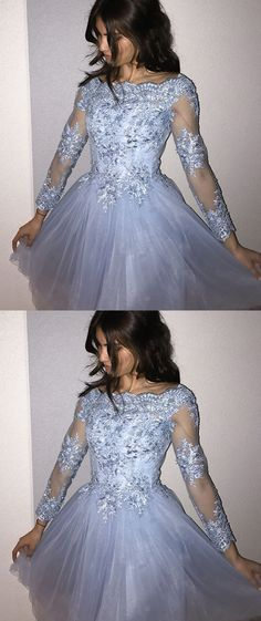 A-Line Homecoming Dresses,Off-the-Shoulder Homecoming Dresses,Blue Homecoming Dresses,Beading Homecoming Dresses,Appliques Homecoming Dresses,Long Sleeves Homecoming Dresses,Short Homecoming Dresses,Homecoming Dresses 2017