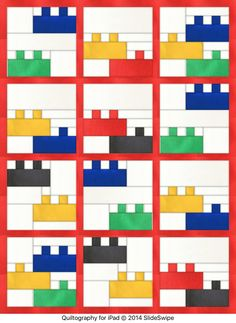 Lego quilt pattern designed using the quiltography app Pattern will be for sale soon for the more realistic version of . Baby Boy Quilt Patterns, Baby Boy Quilts, Quilt Block Patterns, Quilt Blocks, Kid Quilts, Scrappy Quilts, Easy Quilts, Small Quilts, Quilting Projects