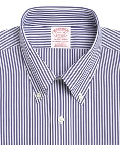 Brooks Brothers Men's Milano Extra-Slim Fit Non-Iron Broadcloth Blue Bengal Stripe Dress Shirt - Blue 17 37 Non Iron Dress Shirts, Slim Fit Dress Shirts, Fitted Dress Shirts, Shirt Dress, Brooks Brothers Men, Well Dressed Men, Modern Outfits, Striped Dress, Nice Dresses