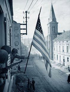 WWII American flag raised in France! Happy Flag Day!!