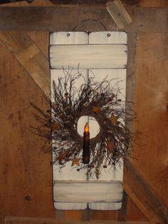 Primitive Wood Decor, Primitive LIghting, Grungy lighting, Shutter, Home Decor