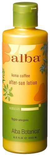 Alba Botanica Kona Coffee After,sun Lotion, 8.5 -Ounce Bottle (Pack of 2) by Alba Botanica. $23.79. DOUBLE VALUE PACK! You are buying TWO of After Sun Ltn, Kona Coffee, 8.5 oz. Quantity: MULTI VALUE PACK! You are buying Description: AFTER SUN LTN,KONA COFFEE Unit Size: 8.5 OZ Brand: ALBA BOTANICA. Alba Botanica: Kona Coffee After Sun Lotion, 8.5 oz. Exotic and aromatic, the natural acids in coffee soften skin and revitalize circulation, while caffeine and green tea help neutrali...