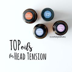 Here are my top four essential oils for dealing with head tension! Try using Frankincense, Deep Blue blend, Lavender, or Peppermint for that unwanted head tension. Relieve the pressure and soothe the muscles the natural way.<br>www.thepricklypilotswife.com<br>#doterra #essentialoils #frankincense #lavender<br>