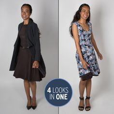 Black/Floral Wrinkle-Resistant Reversible 4-In-1 Travel Dress