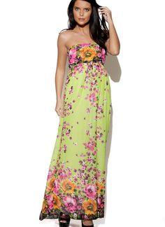 Green Floral Strapless Maxi Dress