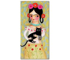 ORIGINAL Large size FRIDA Kahlo with Black Cat PORTRAIT by tascha
