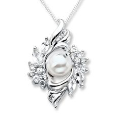 Wreathed in sterling silver, a lovely freshwater cultured pearl is the center of attention in this necklace for her. Lab-created white sapphires add the sparkle. The pendant is crafted in sterling silver and is suspended from an 18-inch box chain secured with a lobster clasp.