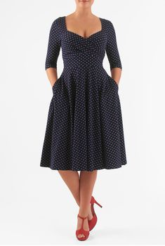 Our cotton polka dot knit dress is styled with a sweetheart neckline, surplice bodice and full flared skirt for classic flattery.