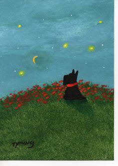 Scottie Scotty Terrier Dog original Outsider Folk by ToddYoungArt,