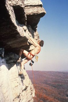 Dick Williams does a historic 20th-anniversary naked ascent of Shockley's Ceiling in 1984.
