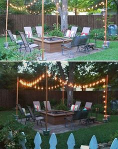 1. Place four wooden posts in four buckets filled with cement, and then hang some clear bulbs.