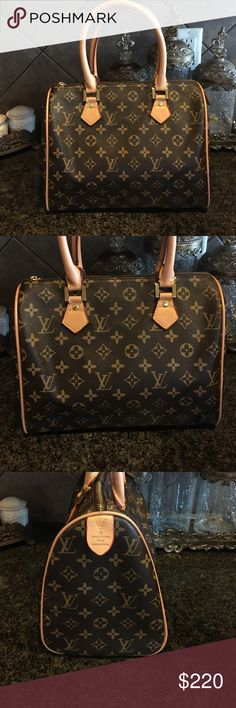 "Like new LV speedy 30 bag Like new speedy 30  LV bag in mint condition .Brown leather w/ tan handles . 11 1/2 inches wide and 10"" long . 6 1/2"" in depth . ❌authentic! Comes from pet/smoke free home . LV Bags Satchels"