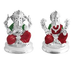 Jpearls Silver Plated Lakshmi Ganesh Idols