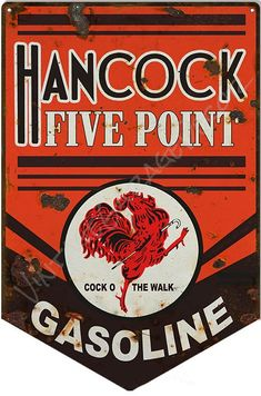 "Reproduction "" Hancock Five Point Gasoline Motor Oil "" Metal Sign (Rusted) Old Gas Pumps, Vintage Gas Pumps, Advertising Signs, Vintage Advertisements, Five Points, Vintage Metal Signs, Old Signs, Oil And Gas, Vintage Fashion"
