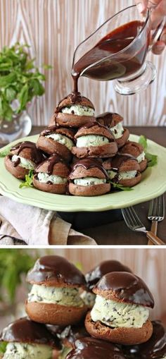 Chocolate Profiteroles with Fresh Mint Chip Ice Cream, covered in lots of warm chocolate fudge sauce. | From SugarHero.com