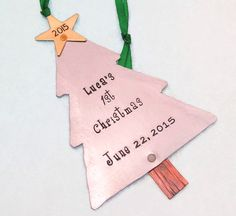 Baby's First Christmas Ornament - Christmas Ornament - Hand Stamped Personalized Ornament First Christmas Stamped Metal Tree Ornament (801) by ReginaLynnDesign on Etsy https://www.etsy.com/listing/174176568/babys-first-christmas-ornament-christmas