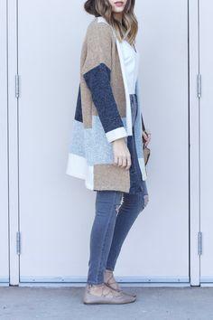 oversized color block cardigan