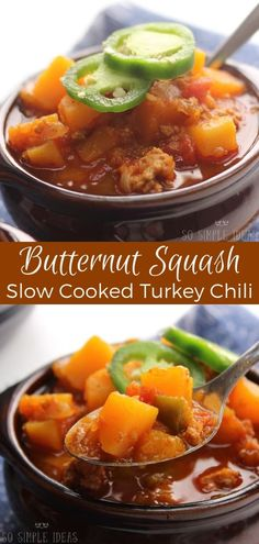 Spice up your dinner with this butternut squash paleo turkey chili crockpot recipe! It's a comforting dish that's easy to make in an Instant Pot. #paleo #paleochili #crockpot #instantpot #butternutsquash | SoSimpleIdeas.com