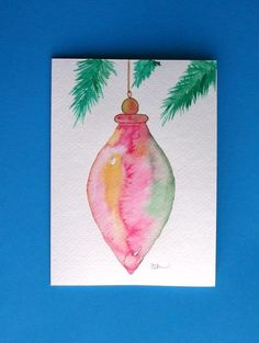 Watercolor card ( Christmas ornament greeting card Christmas ornament holiday original artblank inside by louellaa Painted Christmas Cards, Watercolor Christmas Cards, Diy Christmas Cards, Noel Christmas, Watercolor Cards, Xmas Cards, Christmas Crafts, Christmas Ornaments, Watercolor Painting
