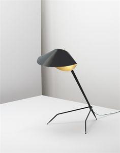 "SERGE MOUILLE ""Lampe de table Trèpied,"", ca. 1953  Painted metal, painted aluminum, brass. 26 3/4 in. (67.9 cm) high"