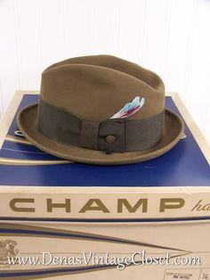 Men s Vintage Champ Fedora Felt Hat in Box Medium c4e34bd0854f