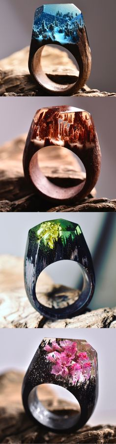 Stunning rings that appear to have magical worlds within them…
