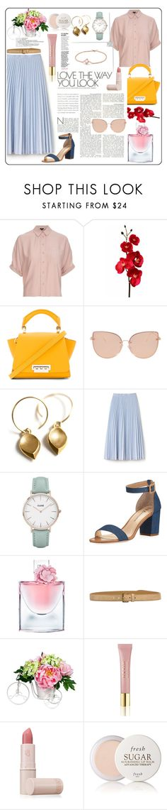 """pleats"" by lanagrin ❤ liked on Polyvore featuring Topshop, ZAC Zac Posen, Lacoste, CLUSE, Neiman Marcus, Lancôme, Miu Miu, Nearly Natural, AERIN and Lipstick Queen"