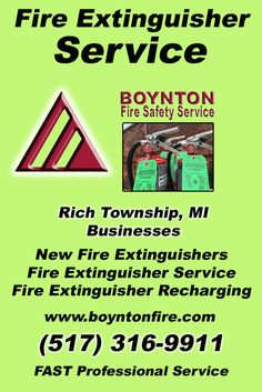 Fire Extinguisher Service Rich Township, MI (517) 316-9911Local Michigan Businesses Discover the Complete Fire Protection Source.  We're Boynton Fire Safety Service.. Call us today!