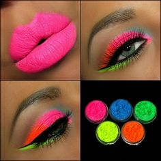 Ultra Bright Shimmer Color Set Eyeshadow Vibrant Neon Glows Makeup Party pigment