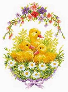 Ducklings with Daisies Cross Stitch Kit by Vervaco