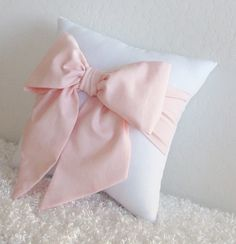 Pale Pink/ Peach and White Bow Accent - Throw Pillow (1) by pillowsbycindee on Etsy. $20.00, via Etsy.