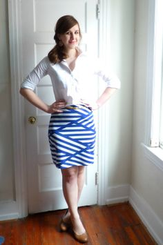 nautical stripe pencil skirt with white archer button down