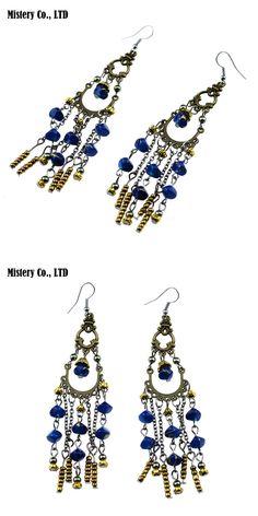 MYTHIC AGE 11cm Long Antique Bronze Bohemia Blue Beaded Tassel Vintage Earrings For Women Lady 2016 New Jewelry Bijouterie