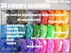 Rainbow Loom Bands  All colours available  by RainbowLoomShop1, $6.50