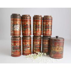 Antique Spice Tins, Set of 9 Vintage YMC Spice Tins, Kitchen Display... (190 CAD) ❤ liked on Polyvore featuring home, kitchen & dining, food storage containers, tin food storage containers and ymc