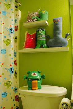Cute kids bathroom idea// monster is what I'm wanting for the kids!