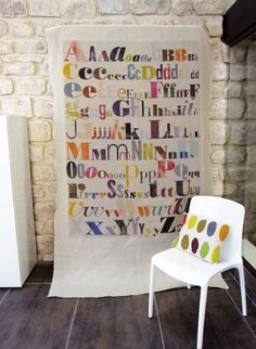 Alphabet Birthday, Type Face, Alphabet Print, Curtain Ideas, Beautiful Posters, Big Girl Rooms, Linen Curtains, Kid Spaces, Natural Linen