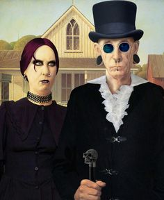Reinventions Of The American Gothic Painting American Gothic Painting, Grant Wood American Gothic, American Gothic Parody, Iowa, Art Institute Of Chicago, Weird Art, Gothic Art, Renaissance Art, First Nations