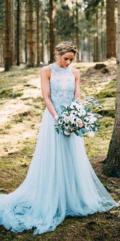 Blue Bohemian Lace Wedding Dress Tulle Blue Bridal Gowns from flordabridal Blue Wedding Gowns, Blue Bridal, Colored Wedding Dresses, Boho Wedding Dress, Dream Wedding Dresses, Bridal Gowns, Lace Wedding, Blue Weddings, Marine Uniform