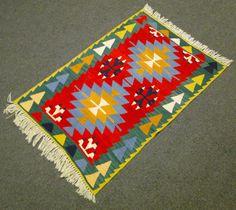 "Turkish Rug 31"" x 45"" Hand Woven Wool Kayseri Kilim 80 x 115 cm NEW #HomeMade #Turkish Floor Cloth, Oriental Rugs, Contemporary Area Rugs, Turkish Kilim Rugs, Kilim Pillows, Carpets, Wool Blend, Hand Weaving, Homemade"