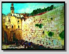 I would love to hear what do you think about this painting of people gathering and praying by the Wailing Wall of Jerusalem.