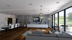 3D visualization of living room and dining of apartment vith big place and nice view ro golf place ...